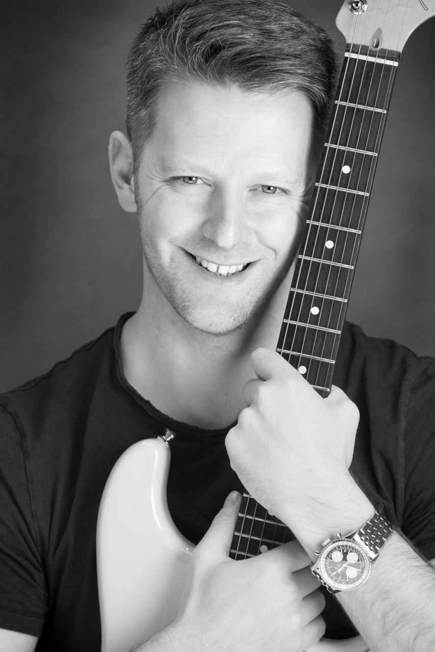 Ollier Photography black and white guitar portrait